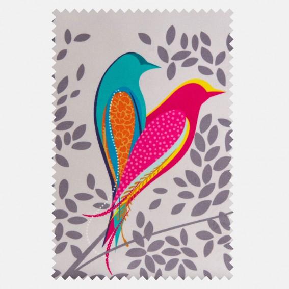 Love Birds Pale Grey Velvet Fabric SAMPLE