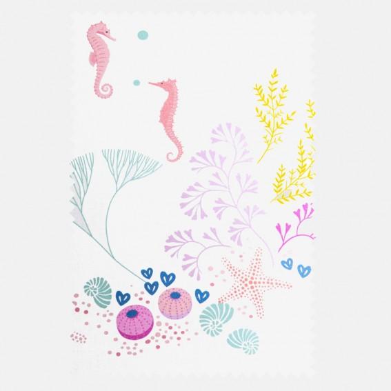 Underwater White Sateen Fabric SAMPLE