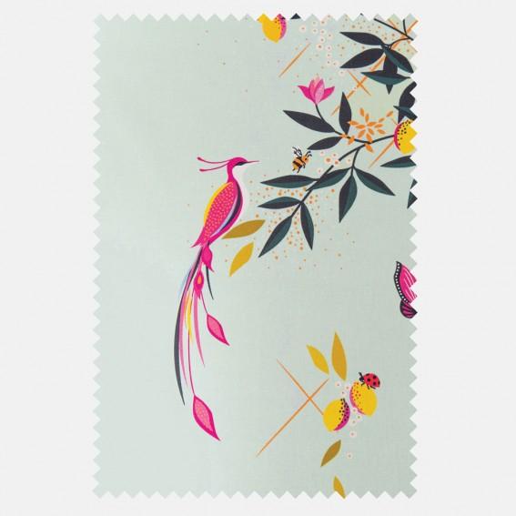 Bird and Trellis Duck Egg Sateen Fabric SAMPLE