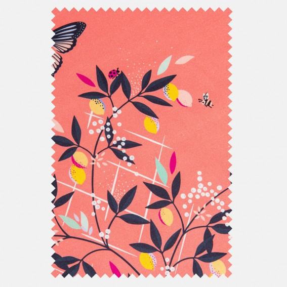 Butterflies & Trellis Peach Sateen Fabric SAMPLE