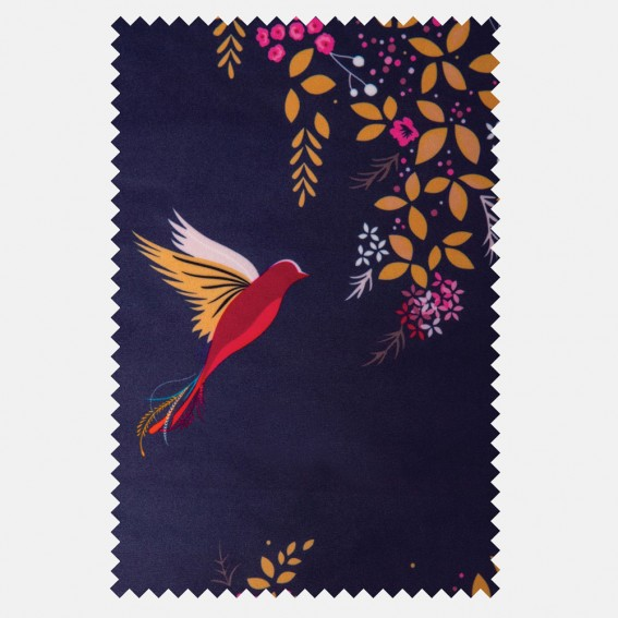 Hummingbird Deep Navy Velvet Fabric SAMPLE