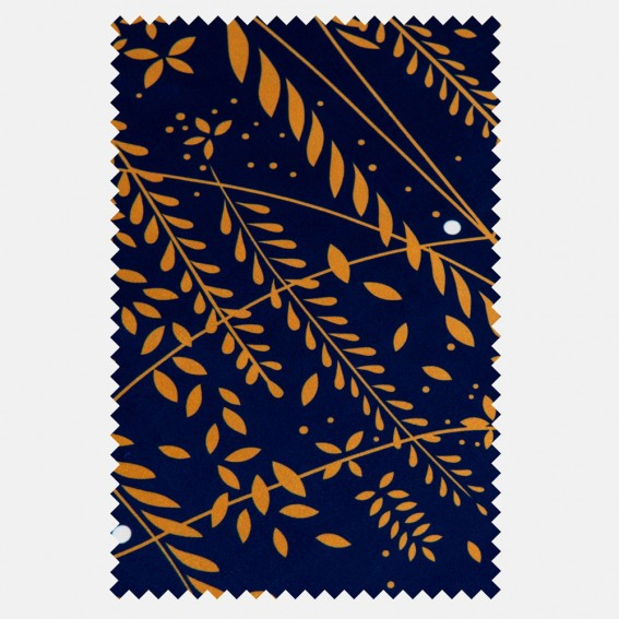 Willow Tree Navy Velvet Fabric SAMPLE