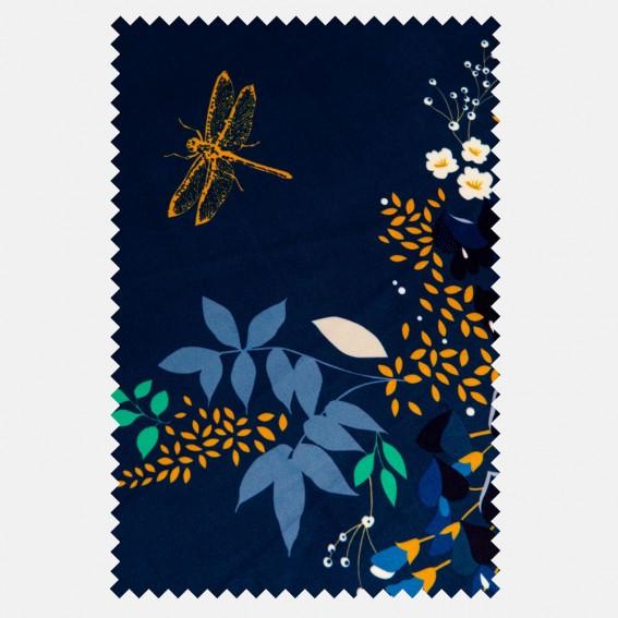 Wisteria Navy Velvet Fabric SAMPLE