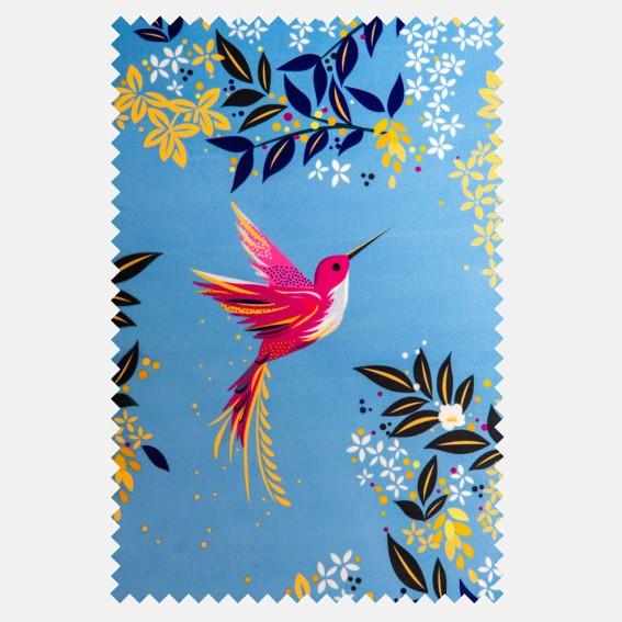 Hummingbird Cornflower Blue Velvet Fabric SAMPLE