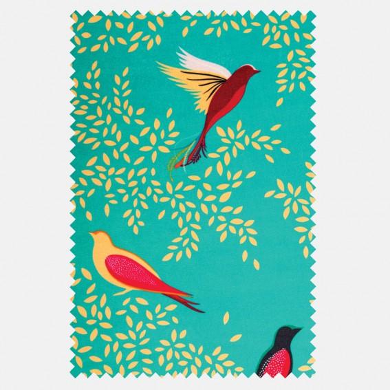 Green Birds Sateen Fabric SAMPLE