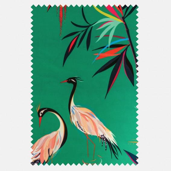 Heron Green Velvet Fabric SAMPLE