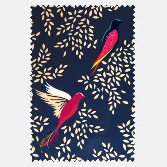 Deep Navy Birds Velvet Fabric SAMPLE