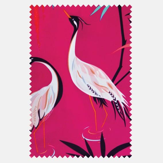 Heron Fuchsia Velvet Fabric SAMPLE