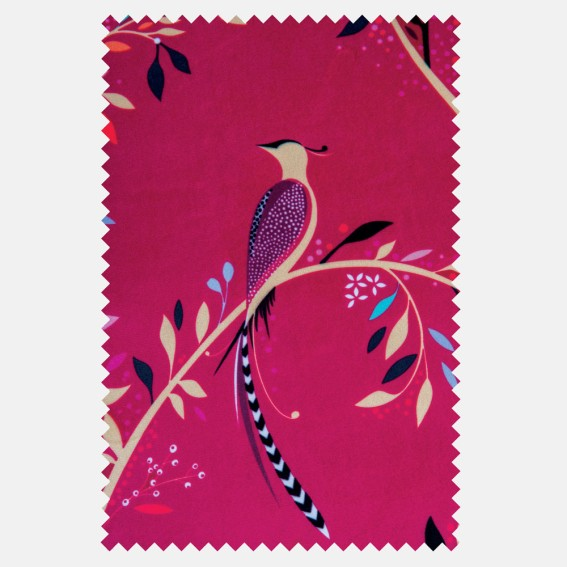 Birds of Paradise Fuchsia Velvet Fabric SAMPLE