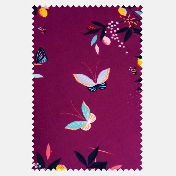 Butterflies & Trellis Purple Velvet Fabric SAMPLE