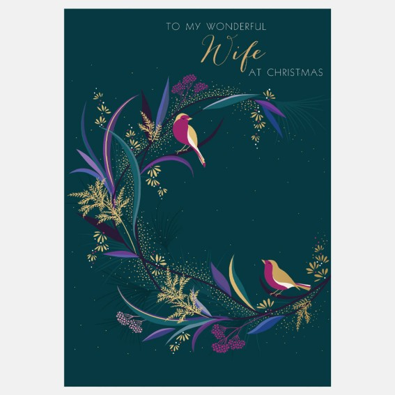 Bird Wreath Wife Christmas Card