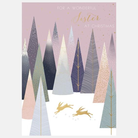 Gold Hares Sister Christmas Card