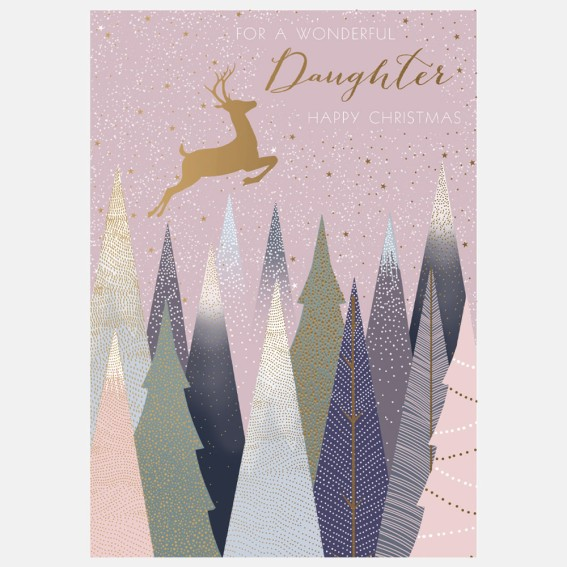 Deer In Forest Daughter Christmas Card
