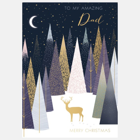 Stag In Forest Dad Christmas Card