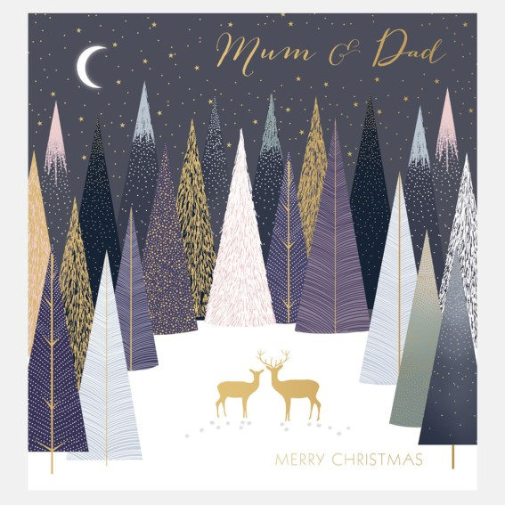 Deer In Forest Mum & Dad Christmas Card