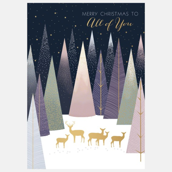Deer In Forest All Of You Christmas Card