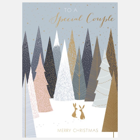 Gold Hares Special Couple Christmas Card