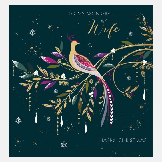 Bird & Foliage Wife Christmas Card