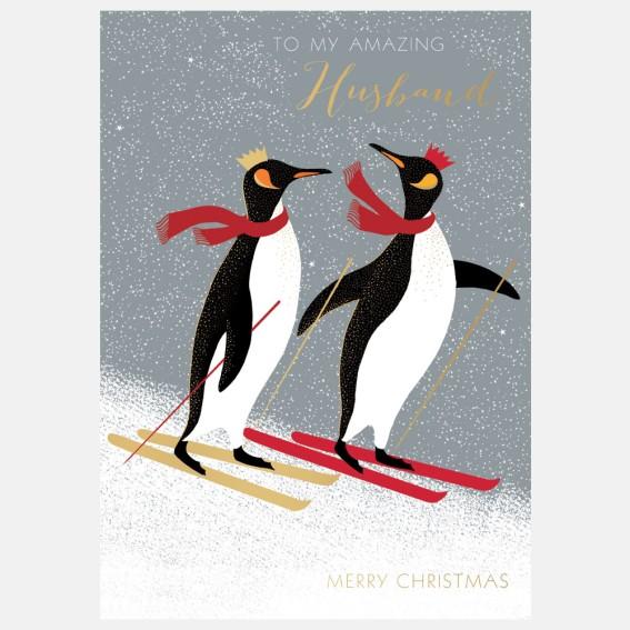 Skiing Penguins Husband Christmas Card