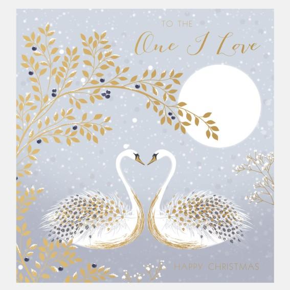 Snow Swans One I Love Christmas Card