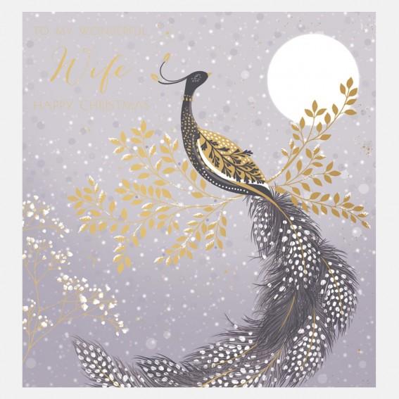 Snow Peacock Wife Christmas Card