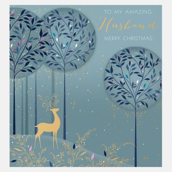 Magical Deer Husband Christmas Card