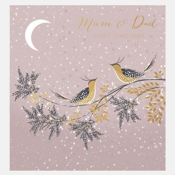 Snow Birds Mum & Dad Christmas Card