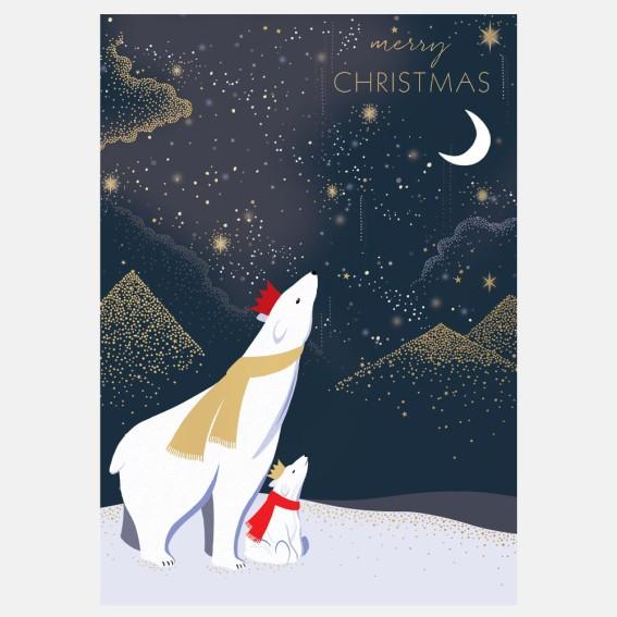 Bears & Moon Christmas Card