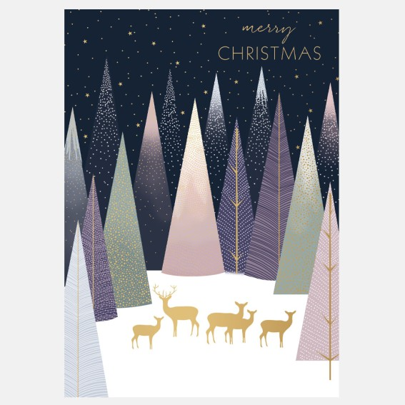 Frosted Pines Deer Christmas Card