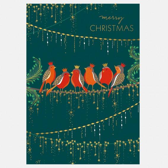 Row of Robins Christmas Card