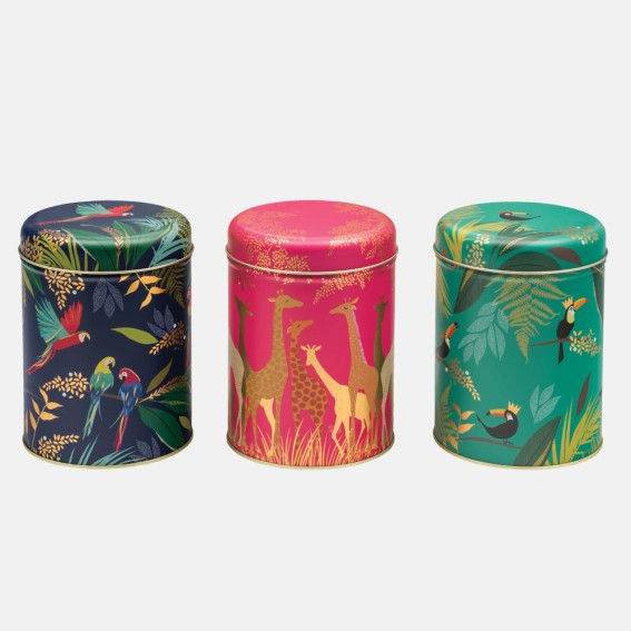 Giraffe, Parrot and Toucan Round Tin Caddies - Set of 3