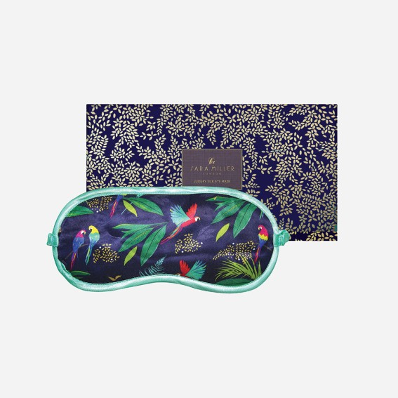 Sleep mask, eye mask, luxury eye mask, luxury sleep mask, silk eye mask, silky, travel, gift, gifting, gift ideas, patterned eye mask, blue eye mask, bird print, travel, parrot,
