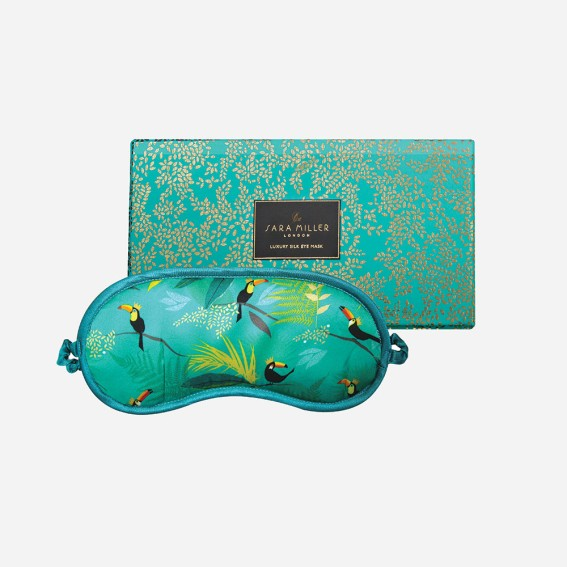 Sleep mask, eye mask, luxury eye mask, luxury sleep mask, silk eye mask, silky, travel, gift, gifting, gift ideas, patterned eye mask, bird print, travel, blue eye mask, green eye mask, toucan,