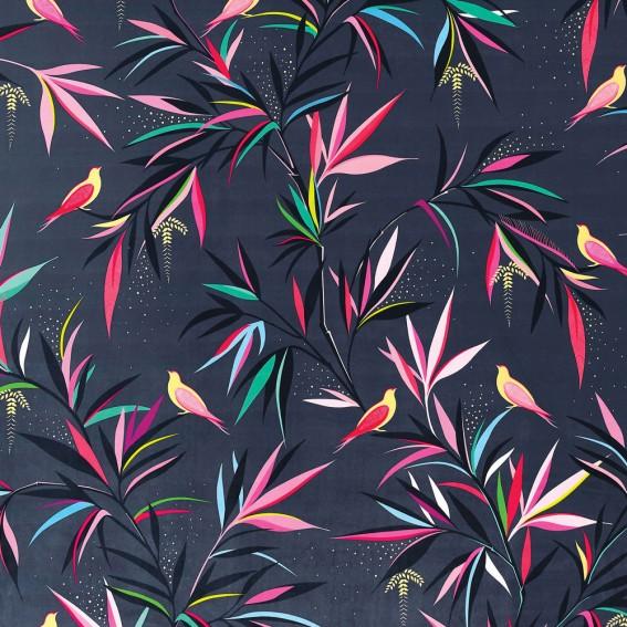 Bamboo Smokey Blue Velvet Fabric
