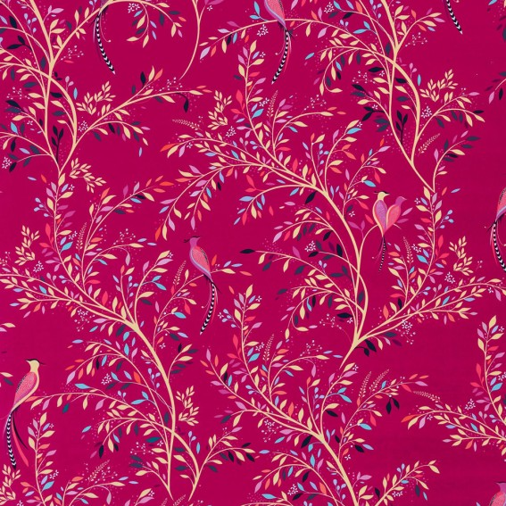 Birds of Paradise Fuchsia Velvet Fabric