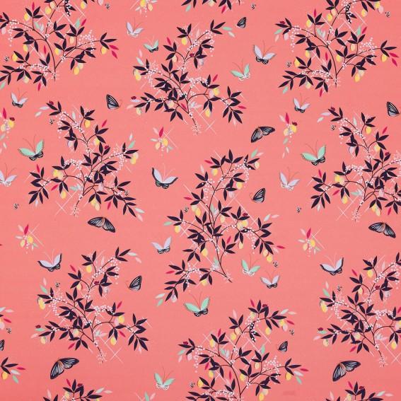 Butterflies & Trellis Peach Sateen Fabric