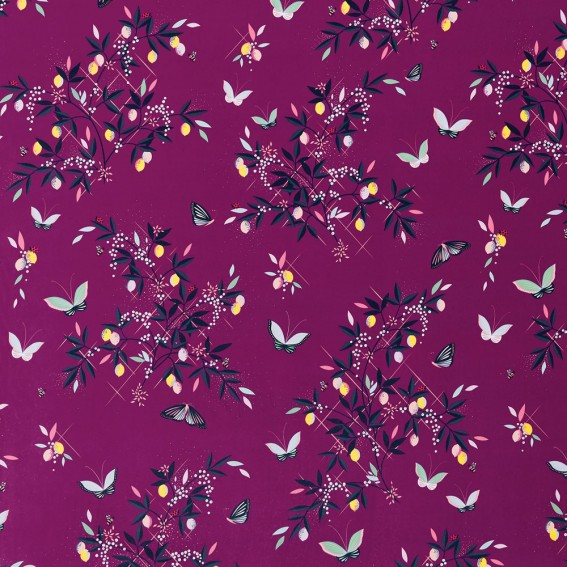 Butterflies & Trellis Purple Velvet Fabric