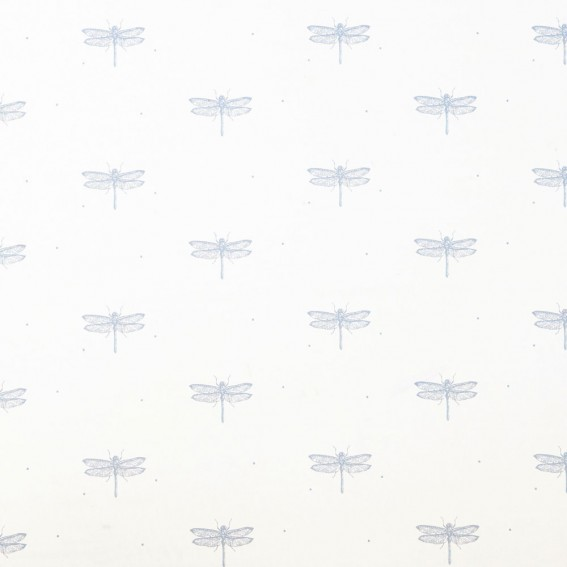 Dragonfly White Sateen Fabric