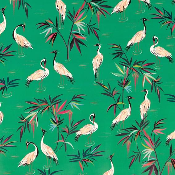 Heron Green Velvet Fabric