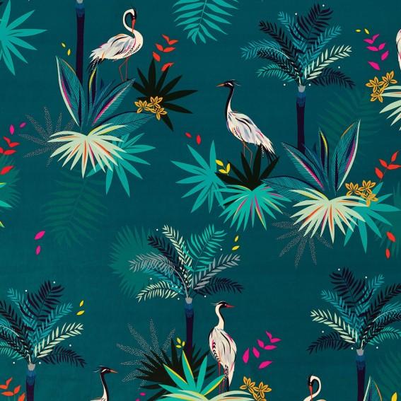 Heron Teal Velvet Fabric