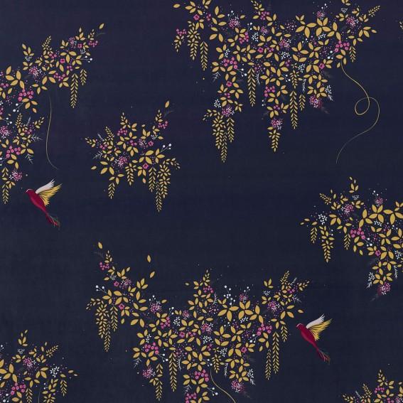 Hummingbird Deep Navy Velvet Fabric