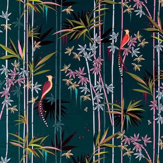 Linear Bamboo Dark Green Velvet Fabric