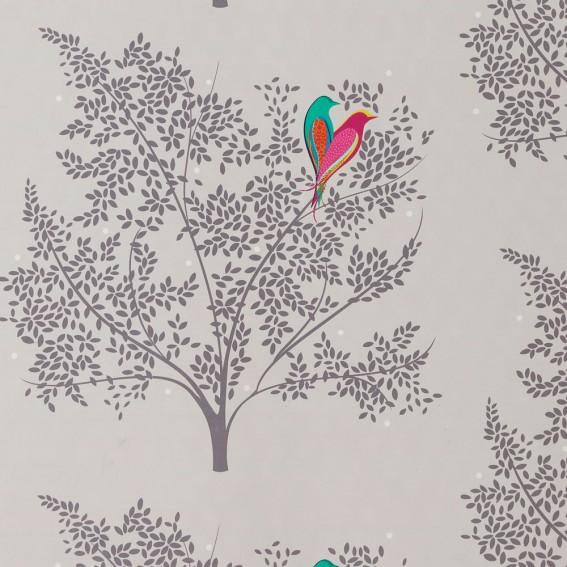 Love Birds Pale Grey Velvet Fabric