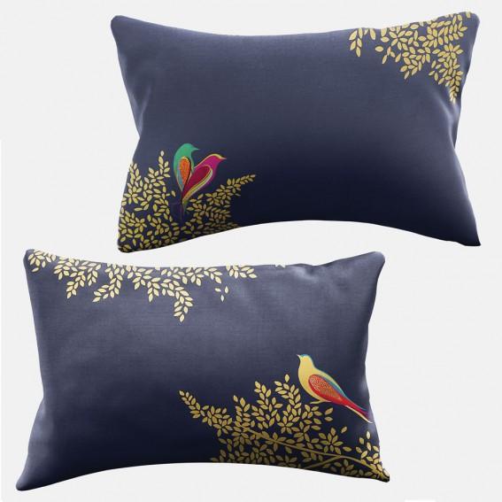 Smokey Blue Birds Standard Pillowcase Pair