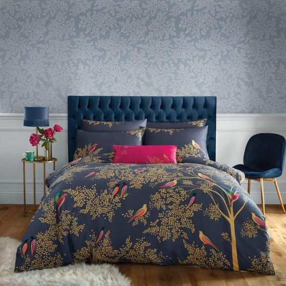 Smokey Blue Birds Double Duvet Cover & Pillowcase Set