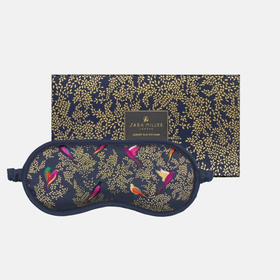 Smokey Blue Birds Silk Eye Mask