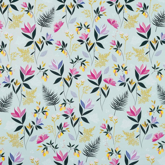 Orchard Floral Duck Egg Sateen Fabric