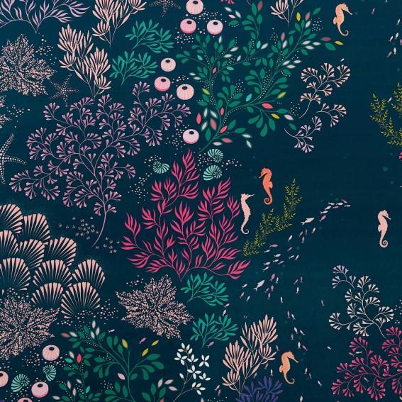 Underwater Midnight Velvet Fabric