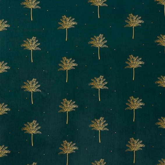 Tropical Palm Forest Green Velvet Fabric