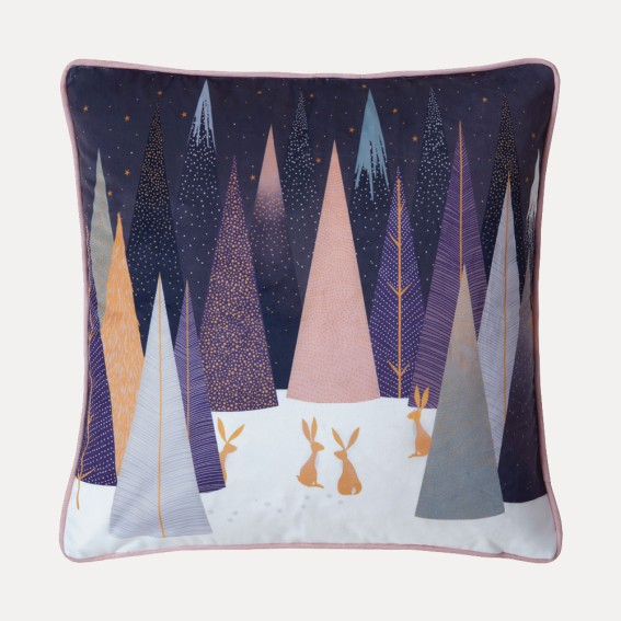 Frosted Pines Hare Feather Filled Cushion